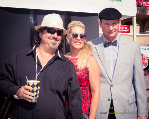 Producer and DMTC Promotions Director Chris Bahr makes a very smart fashion statement while he stops to pose with Co-Producer, Directors Deena Von Yokes and Joe Cuviello.