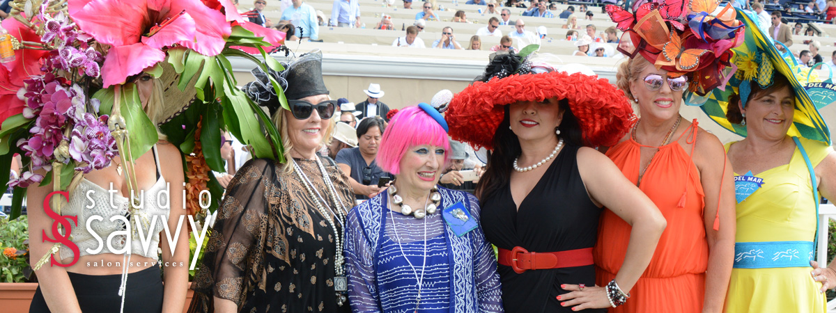 Del Mar Opening Day Hat Contest Winners with Celebrity Judge Zandra Rhodes