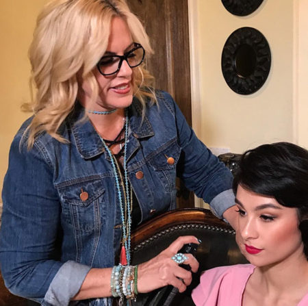 Deena Von Yokes hair styling for a photoshoot.