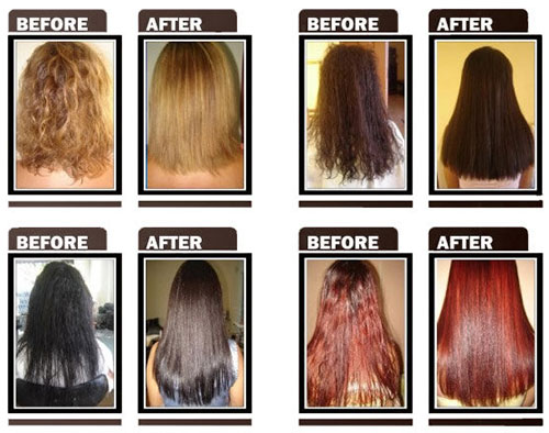 Global Keratin hair straightening before-and-after
