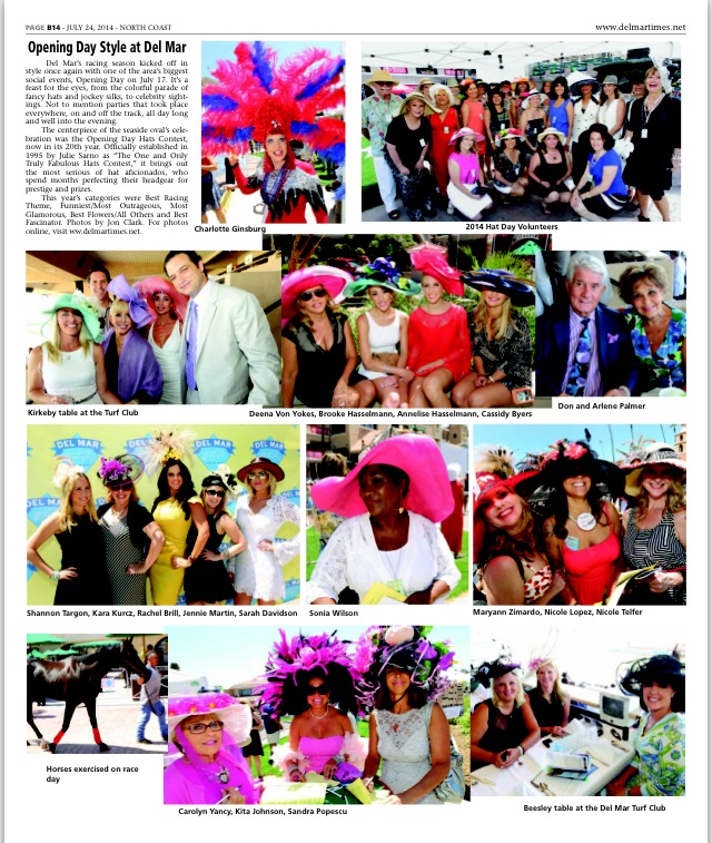 The Studio Savvy girls were a part of the spread in the Del Mar Times issue covering Opening Day